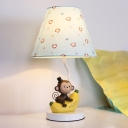 Tapered 1 Head Standing Table Light with Monkey Blue Fabric Shade Table Lamp for Kindergarten