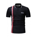 Simple Letter CHERISH Vertical Stripe Print Men Slim Polo Shirt