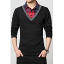 Men's New Trendy Check Patched Collar Long Sleeve Fitted Polo Shirt
