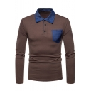 Contrast Collar Denim Patched Pocket Long Sleeve Slim Fitted Polo Shirt for Men