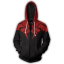 Comic Spider-Man 3D Printed Cosplay Costume Zip Up Black and Red Hoodie
