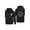 Supernatural Magic Circle Star Printed Long Sleeve Zip Up Fitted Hoodie