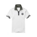 Fashion Plaid Patchwork Short Sleeve Logo Chest Men's Summer Cotton Casual Polo