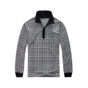 Men's New Trendy Check Printed Contrast Trim Loose Fit Cotton Black Long Sleeve Polo