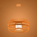 1 Head Rattan Suspended Light Modernism Knit Pendant Hanging Lamp in Wood for Dining Room