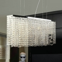 Chrome Finish Linear Hanging Light Modernism Crystal 4 Lights Hanging Ceiling Lamp for Dining Room