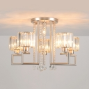 Silver Round Hanging Light Modern Design Crystal 4/6 Lights Chandelier Lamp for Sitting Room