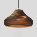Contemporary Gourd Pendant Light Paper Single Head Decorative Hanging Ceiling Lamp in Brown