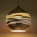 1 Light Globe Hanging Light Modern Fashion 3D Glass Shade Pendant Lamp for Bar Counter Restaurant