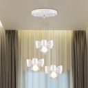 3 Lights Sphere Pendant Light Modern Fashion Clear Glass Hanging Ceiling Lamp in White for Dining Table