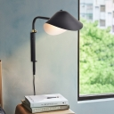Modernism Duckbill Shade Lighting Fixture Metallic Single Head Plug In Wall Sconce in Black