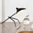 Single Light Tripod Desk Lamp with Duckbill Shade Modern Fashion Metal Standing Desk Light in Black