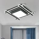 Square Flush Light Fixture Modern Design Acrylic LED Ceiling Flush Mount in Warm/White for Office
