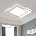 Modernism Block LED Flush Mount Metallic Eye Protection Surface Mount Ceiling Light in White for Bedroom