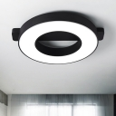 Black Donut Shape Ceiling Flush Mount Minimalist Acrylic LED Ceiling Lamp for Sitting Room