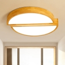 Acrylic Half Round LED Ceiling Light Contemporary Flush Mount Light in Wood for Living Room