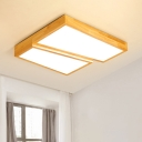 Double Trapezoid LED Ceiling Light Nordic Style Wood Surface Mount Ceiling Light in Warm/White