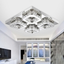 Modern Design Squared Semi Flush Light Stainless LED Ceiling Light with Clear Crystal
