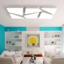 White Rectangle Indoor Lighting Fixture with Geometric Acrylic Shade Modern LED Flush Light