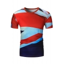 3D Colorblocked Round Neck Short Sleeve Fitted Red and Blue T-Shirt