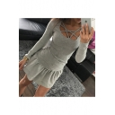 Sexy Hollow Crisscross Scoop Neck Long Sleeve Solid Slim Fit T-Shirt