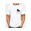 Funny Comic Pocket Short Sleeve Basic White T-Shirt