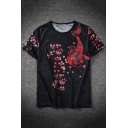 Chinese Style Floral Carp Print Summer Casual Short Sleeve Black T-Shirt