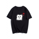 Lovely Cartoon Heart Pattern Basic Loose Unisex Short Sleeve Cotton Tee