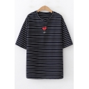 Cartoon Heart Embroidery Basic Round Neck Loose Leisure Striped T-Shirt