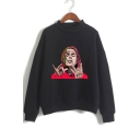 American Rapper Figure Print Mock Neck Long Sleeve Pullover Loose Fit Sweatshirt