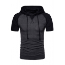 Fashion Colorblock Raglan Short Sleeve Slim Fitted Drawstring Hoodie for Guys