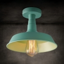 Mint Green Barn Semi Flushmount Modern Fashion Iron 1 Head Surface Mount Light for Kids Children