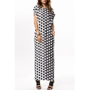 Fashion Black and White Polka-Dot Printed Round Neck Short Sleeve Maxi Shift Kaftan Dress