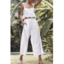 Fashion Ruffled Cropped Cami Top Drawstring Waist Wide-Leg Pants Solid Color White Set for Women
