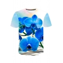 Fashion 3D Floral Pattern Basic Short Sleeve Blue Casual Tee