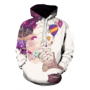 New Stylish 3D Pattern Basic Long Sleeve Pullover Sport Casual White Hoodie