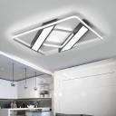 Linear LED Flush Lighting with Squared Frame Modern Fashion Aluminum Ceiling Light in Black
