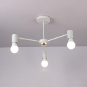 Triple Lights Bare Bulb Hanging Chandelier Concise Modern Steel Suspended Light in White