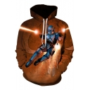 3D Cool Figure Print Casual Loose Long Sleeve Khaki Hoodie