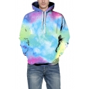 Light Blue 3D Galaxy Printed Long Sleeve Pullover Casual Loose Drawstring Hoodie
