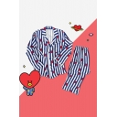 Kpop BT21 ARMY Cartoon Heart Striped Printed Blue Pajamas