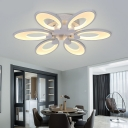 4/6 Lights Oval LED Semi Flush Light Modernism Acrylic Ceiling Lamp in Warm/White/Neutral