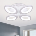 Acrylic Oval Shade Ceiling Flush Mount Minimalist 4/5 Lights LED Semi Flush Light in Warm/White/Neutral