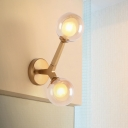 Brass Finish Modo Sconce Light Modern Design Cognac Glass 2 Lights Art Deco Wall Mount Light