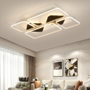 Ultra Thin Flush Light with Black Metal Canopy Minimalist LED Ceiling Flush for Study Room