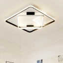 Squared Acrylic Shade LED Ceiling Light Nordic Style Flush Light in Warm/White/Neutral for Bedroom