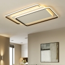 Multi-Layer Rectangle Flush Lighting with Acrylic Shade Simplicity LED Ceiling Flush in White