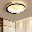 Black Ring Ceiling Lamp with Crescent Metal Canopy Minimalist Decorative LED Flush Light Fixture