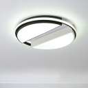 Acrylic Semicircle Shade Ceiling Light Modern Chic LED Flush Light in Black and White