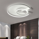 Modern Fashion Halo Ring Flush Light with V Shape Canopy Metal LED Ceiling Fixture in White